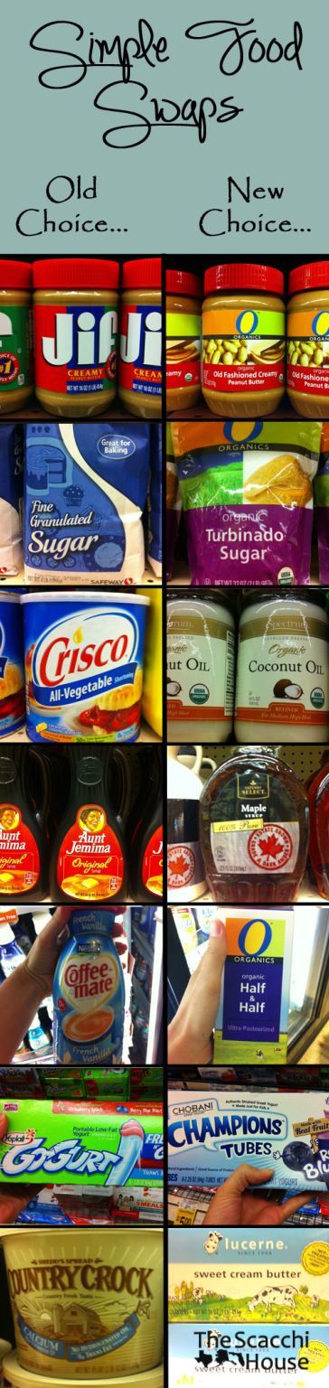 The Scacchi House: Clean Eating Food Swaps -- I may not due everything on the list (plain yogurt for me!) but this is a good start to simply swap out bad items for better ones. (Read labels!)