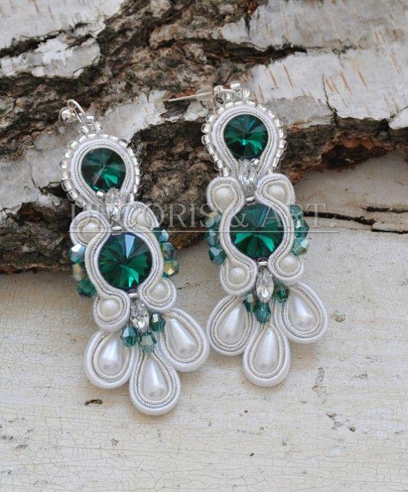 Kolczyki wykonane ręcznie, haft sutasz, kryształy Swarovskiego