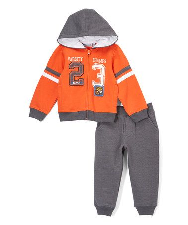 Another great find on #zulily! Orange Zip-Up Hoodie & Gray Sweatpants - Infant, Toddler & Boys #zulilyfinds