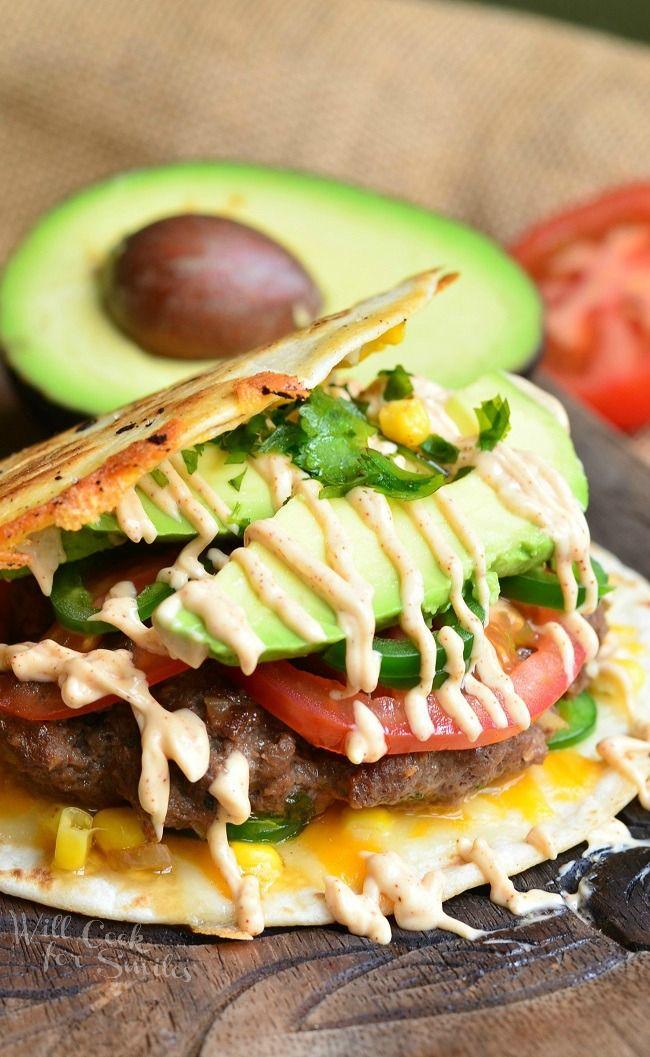 Quesadilla Burger from willcookforsmiles.com #dinner #sauce #cheeseburger