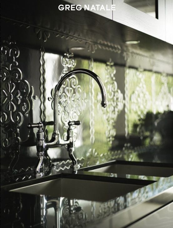 Tile backsplash that looks like pressed metal | Greg Natale... via Hinch Color Design...