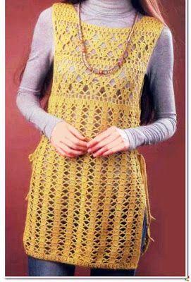 crochet home: yellow Tunic