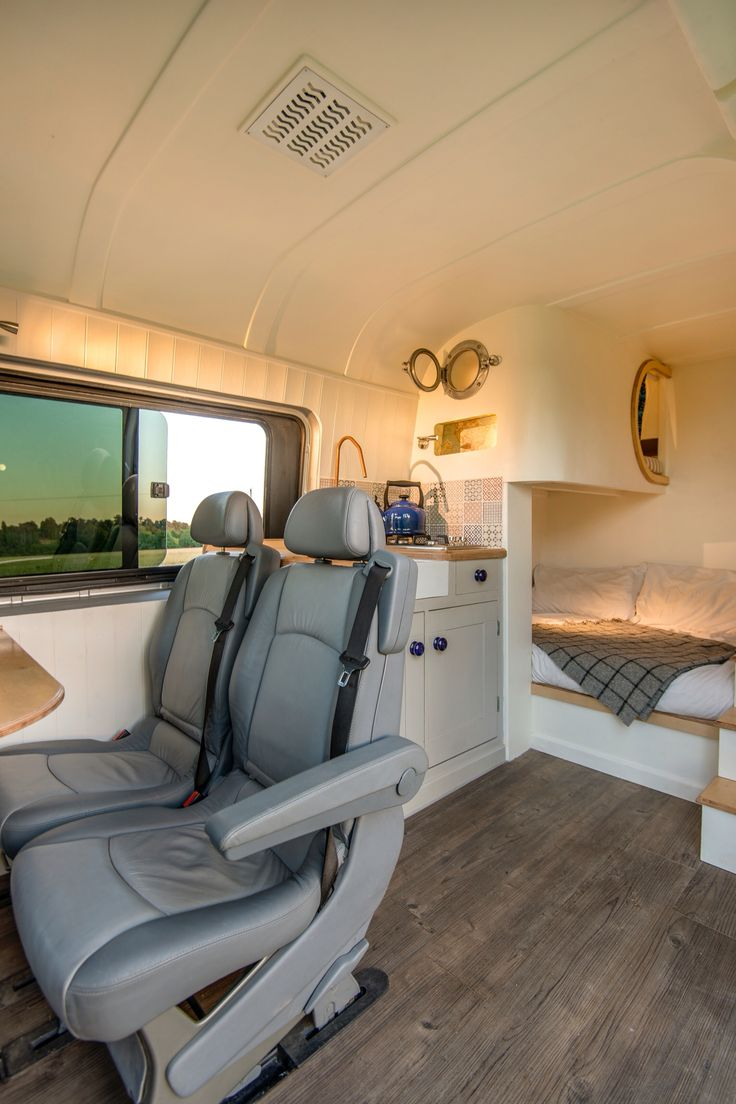 Interior of cool camper van conversion at www.thismovinghouse.co.uk