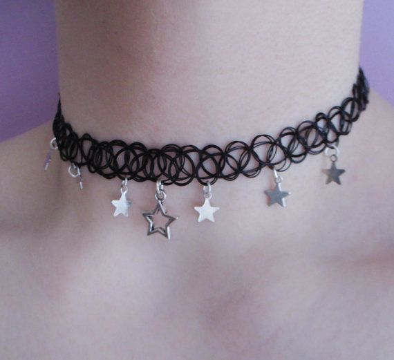 star charm choker - tattoo choker - grunge choker - pastel goth - kawaii - nu goth