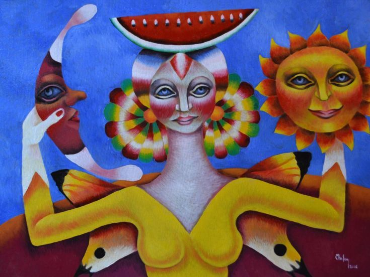 ARTFINDER: THE QUEEN FAIRY WITH SUN AND MOON by CHIFAN CĂTĂLIN ALEXANDRU - OIL ON CANVAS PAINTING, 2016  80 X 60 CM