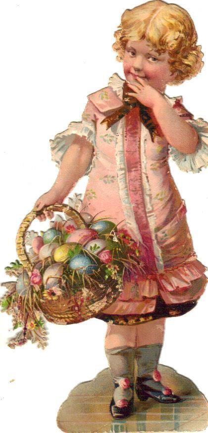 Victorian Scrap Brown Eyed Girl in Pink w Easter Basket Die Cut C1880   eBay