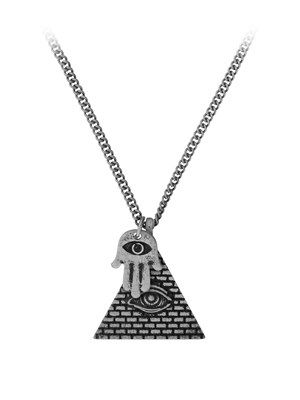 Ancient iconography has never been more on trend! Bring a tiny bit of Egyptian culture to your jewellery box with this Pyramid Eye and Hamsa Hand combination necklace. With two beautifully delicate pendants, this necklace is the perfect finishing touch!