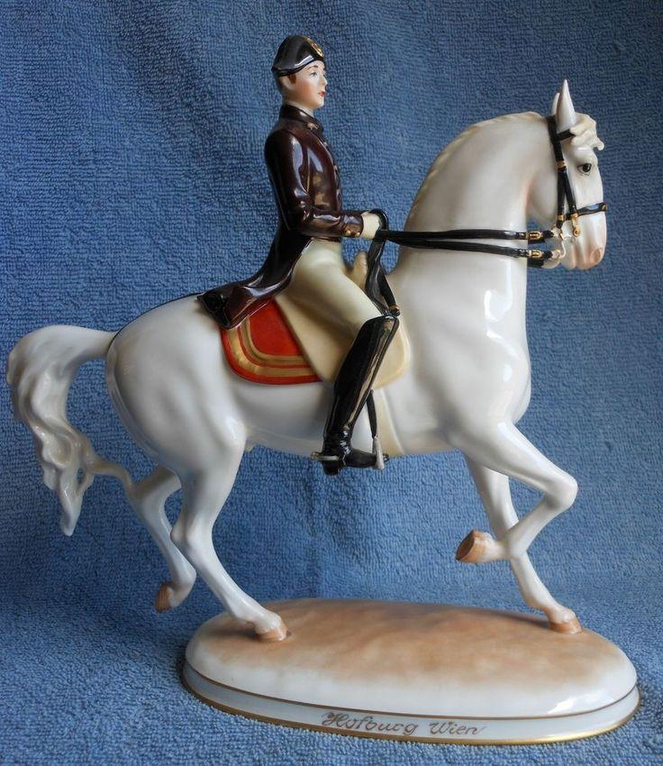 Antique Austrian Augarten Wien Porcelain Lipizzaner Horse & Rider Figurine  82 Elfriede Zag 1949 - 1976
