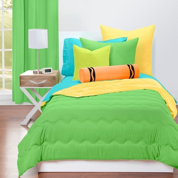 Crayola Jungle Green And Laser Lemon Reversible 3 Piece Comforter