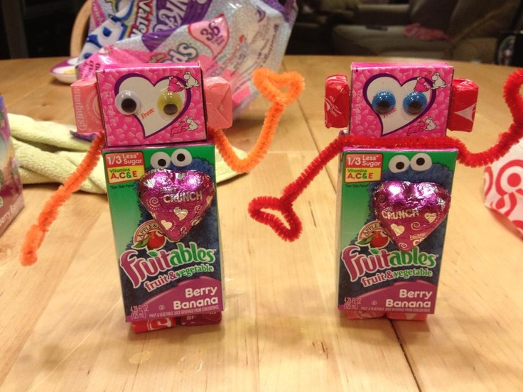 Valentineu0027s Day Robots. Juice Drink, Box Of Nerds, Starburst, Pipe Cleaners  Topped