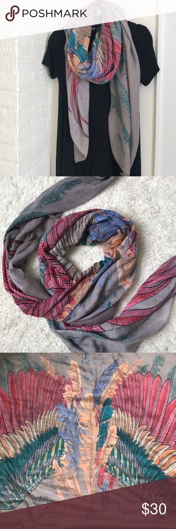Beautiful Feather Blanket Scarf Feather Blanket Scarf - grayish taupe color with pinks blues and orange feather details with black outlines - some minor pulls in fabric from wear that are not noticeable when wearing but otherwise in good condition - purchased from a local boutique Accessories Scarves & Wraps