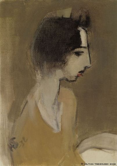 """Helene Schjerfbeck - Profile of a Woman """"from Memory' oil on canvas"""