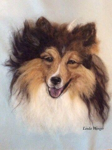 Portrait of Lance, a needle felted wool painting.: #felteddog