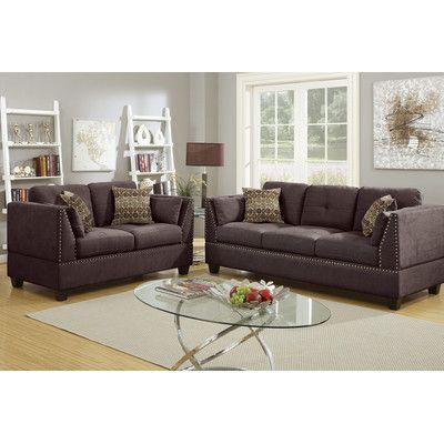 Poundex Bobkona Zenda Sofa and Loveseat Set Upholstery: Dark Brown