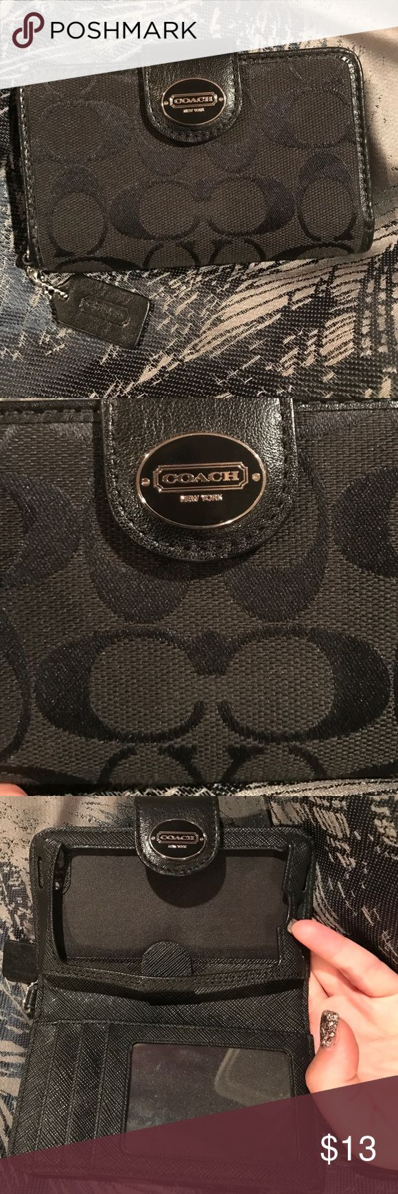 NWOT Coach Iphone 4 wallet holder authentic authentic coach wallet case for iphone 4! NWOT i am positive it is for the iphone 4 i measured the iphone slot and it came to 4.5 inches which is according to google the size of the iphone 4. it would be too small for the iphone 5 which is 4.87 inches and the iphone 4 and 3 versions are 4.5 inches. *no trades offers only* Coach Accessories Phone Cases