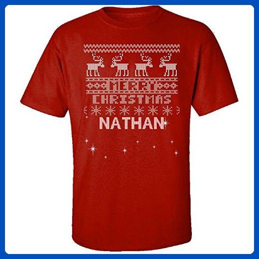 Ugly Christmas Sweater Greetings From Nathan - Adult Shirt 2xl Red - Holiday and seasonal shirts (*Amazon Partner-Link)