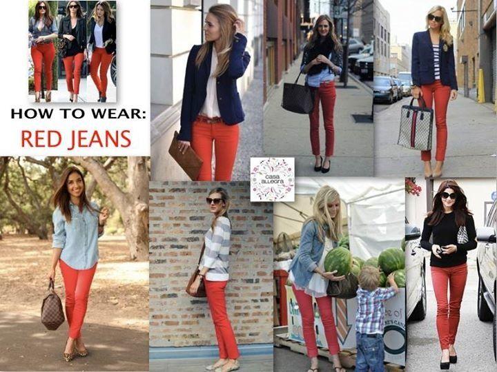 Vestir pantalones rojos