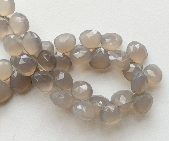 Grey Chalcedony Faceted Heart Beads Grey by gemsforjewels on Etsy