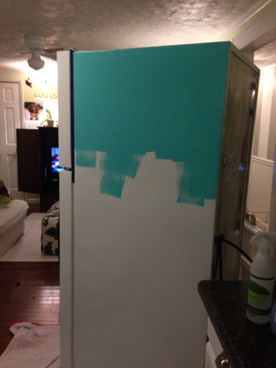 Diy Painted Refrigerator Painting Refrigeratorpaint Fridgebasement Kitchenred