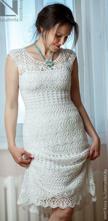 """Купить Платье """"Лето"""" - белый, однотонный, платье, платье летнее, платье вязаное, платье крючком"""