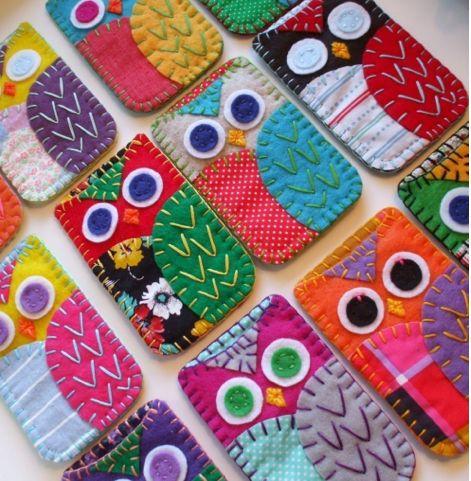 Felt/fabric embroiderd owls