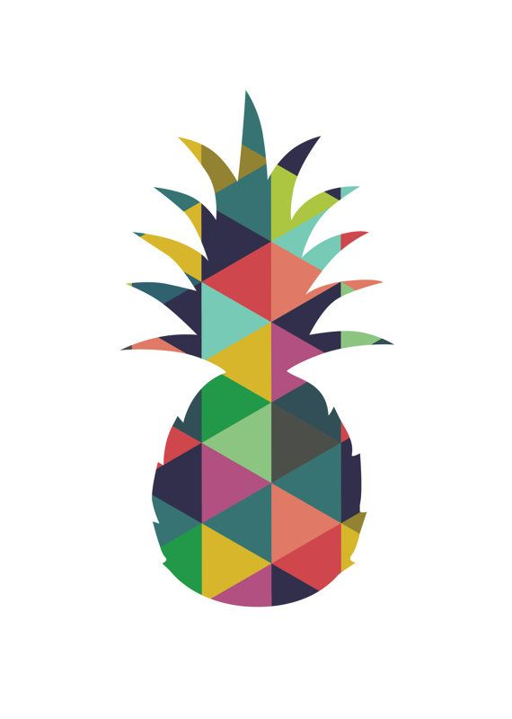 Pineapple decor colorful wall art pineapple par - Ananas dessin ...