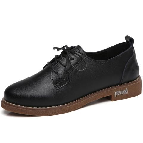 Details About O16u Women Flats Shoes Oxfords Genuine Leather Lace Up