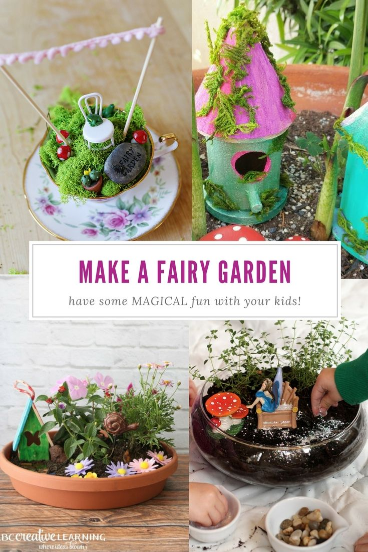 All kinds of wonderful ways to make a fairy garden with your kids. From teeny teacup fairy gardens to huge bird bath gardens!