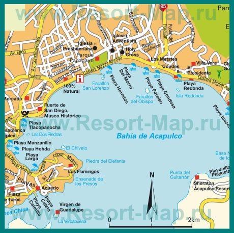 Карта города Акапулько с достопримечательностями