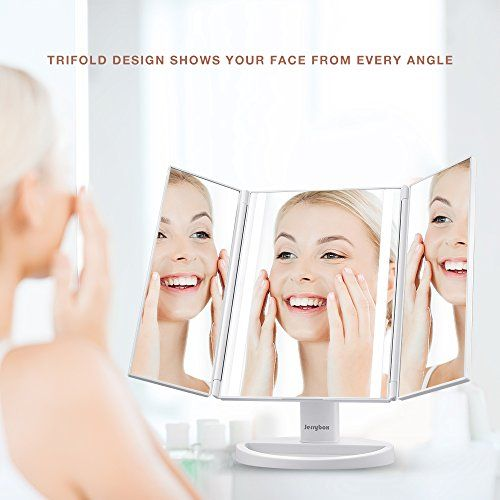 Jerrybox Trifold LED Lighted Makeup Mirror Touch Screen U...
