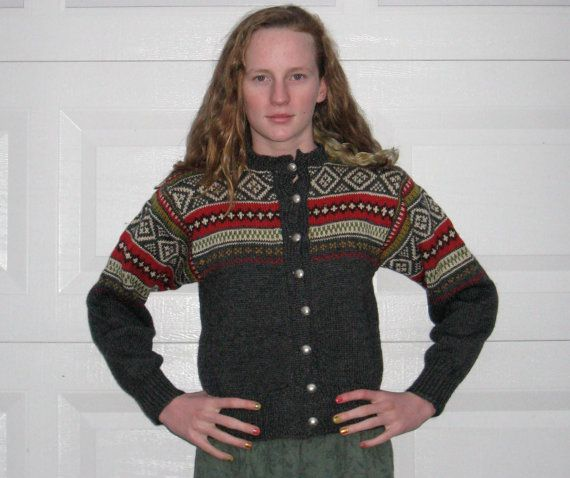 Vintage Hand Knit NORWEGIAN SWEATER1960s by vintagous on Etsy