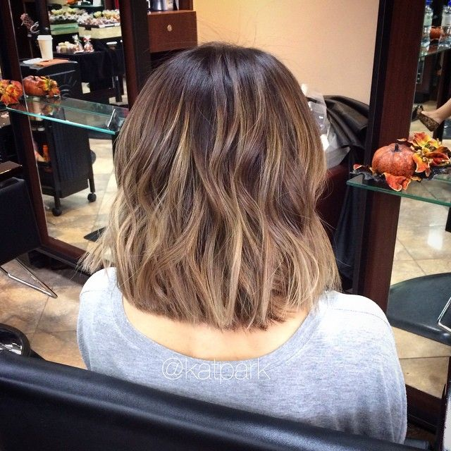 short dark hair balayage