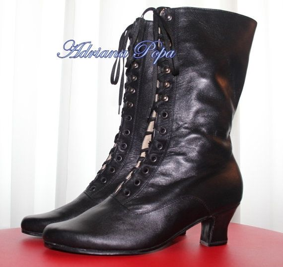 Halloween Victorian Boots in Black Leather Lace by VictorianBoots