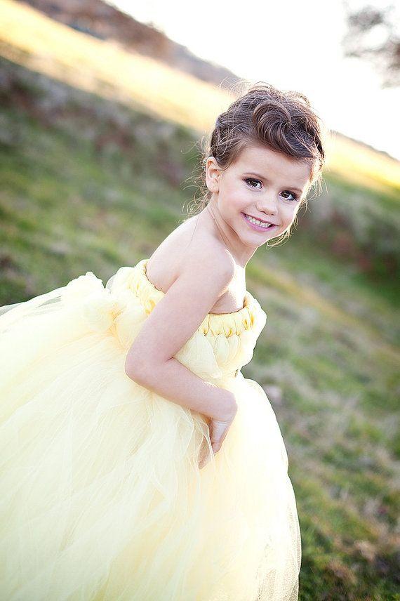 Light Yellow Flower Girl Belle Dress by SweetLaylaKays on Etsy, $56.00