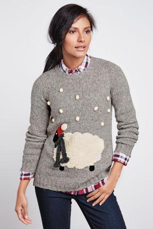 Grauer, lustiger Pullover mit Schafmotiv heute online kaufen bei Next: Deutschland