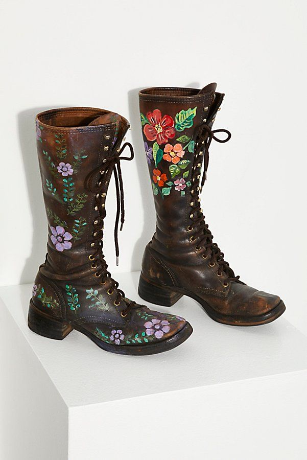 2e87a418e66 Vintage 1960s Hand Painted Leather Boots