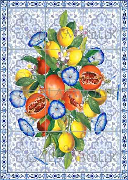 TCR 28 - TCE 28  Ceramics inspired by the designs of Mediterranean culture with blue flowers, lemons and pomegranates