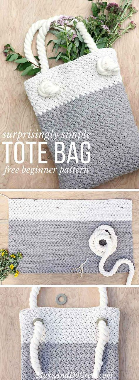 "This free crochet tote bag pattern for beginners is deceptively simple and requires only single and double crochet stitches. Neutral colors and a beautiful texture combine in the perfect modern tote or oversized purse. Click for the full ""Suzette"" stitch photo tutorial and free bag pattern. 