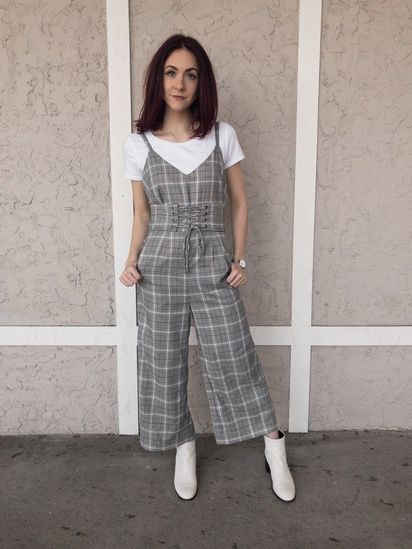 1c7bdf1cfc1a I m really loving jumpsuits for spring! Check out the link in my bio for  full outfit details and where to get a similar plaid jumpsuit to replicate  this ...