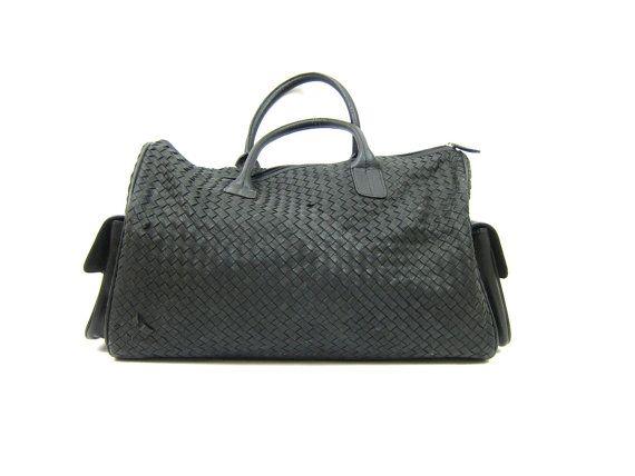 Sac de Vintage tissé noir sac polochon nuit besace des années 1990 valise souple coquille étui voyage vacances sac fourre-tout Enzo Rossi