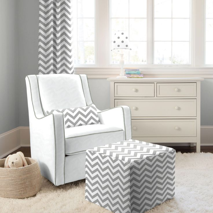 White Gray Modern Glider With And Zig Zag Pillow Carouseldesigns