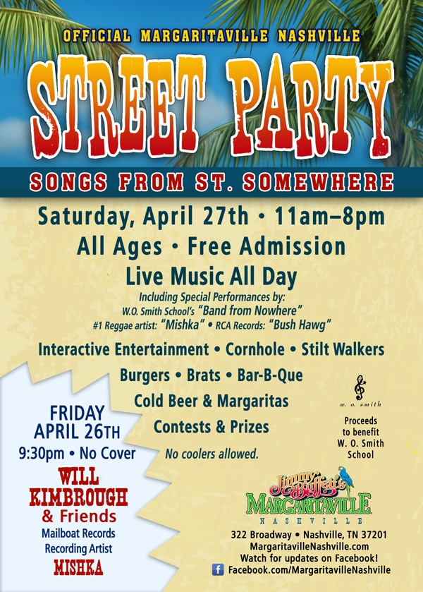 April 27 from 11 a.m. to 8 p.m. will be the Official Margaritaville Nashville Street Party! Enjoy live music all day with performances from Band From Nowhere, Mishka & Bush Hawg! Admission is free and all ages are allowed.