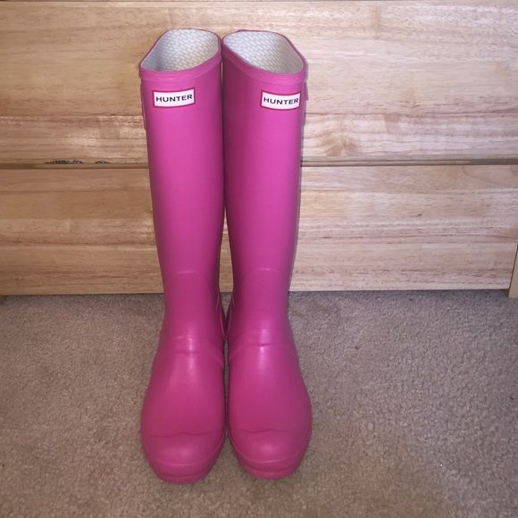 """Pink Hunter Rain Boots Color: """"Bright Cerise."""" Very minimal wear, in excellent condition! Size 9. $120 OBO Hunter Boots Shoes Winter & Rain Boots"""
