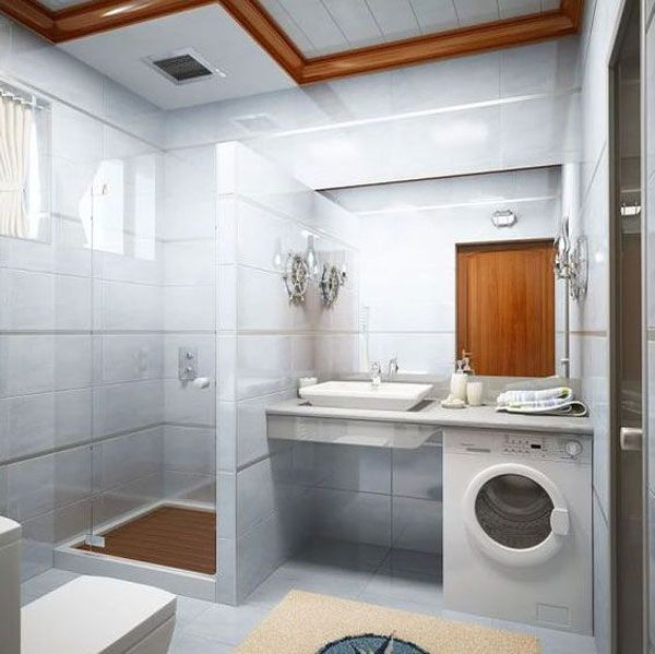Excellent use of space. A washing machine and a dryer should be part of a bathroom, keeps a lot of plumbing in the same part of the house.