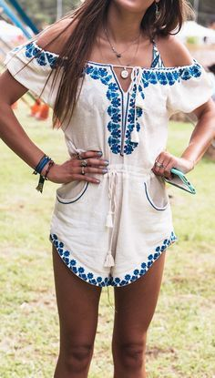 Embroidered romper.