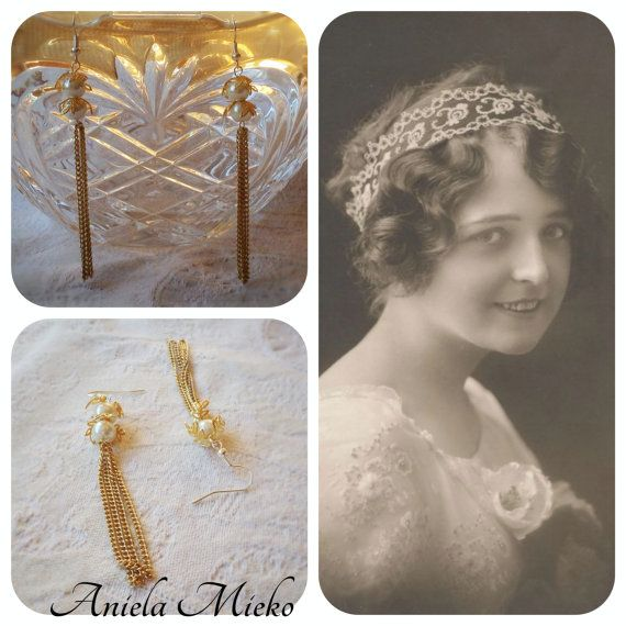 The Josephines earrings are vintage inspired!  ONLY 28,50$CA ! SAVE 10% with this Etsy Code PINTEREST16 #vintageinspiredearrings #vintageinspiredjewel #vintageinspiredjewelry #pendantearrings #chainpendantearrings #goldenearrings #mtlfashion #mtldesigner #anielamieko
