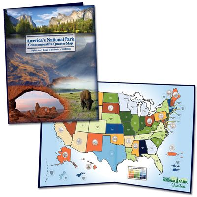 Image for 2010-2021 America's National Park Quarter Series Colorful Map Folder from Littleton Coin Company