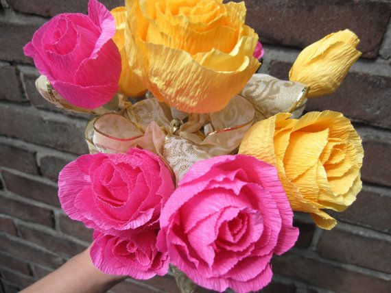 PINK-ORANGE Party Flowers Wedding Decorations by moniaflowers