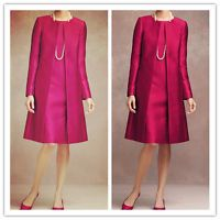 Mother Of The Bride Dresses Satin Long Coat Wedding Formal Guest Gown/Outfits