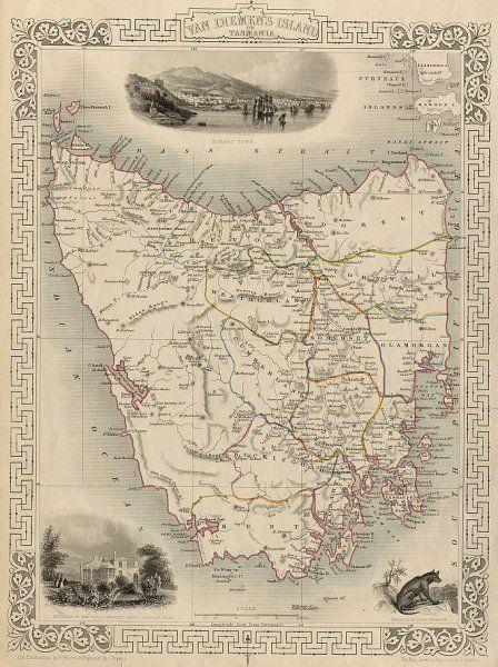 1851 - John Tallis, Van Diemen's Island or Tasmania #map #tasmania #australia